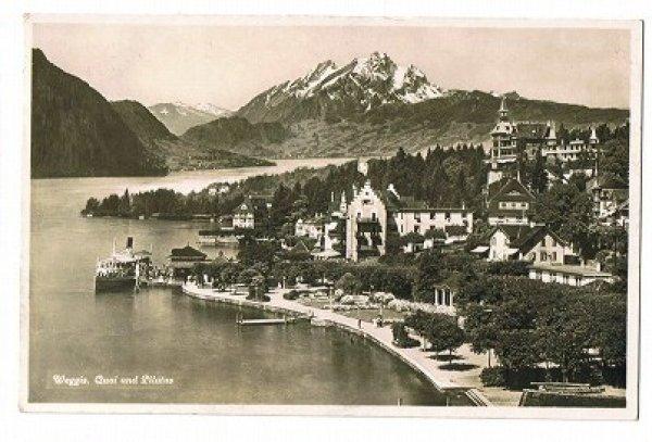 画像1: スイス Weggis 湖と山 (1)