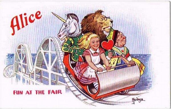 画像1: Postcard  童話 不思議の国のアリス ジェットコースター (1)