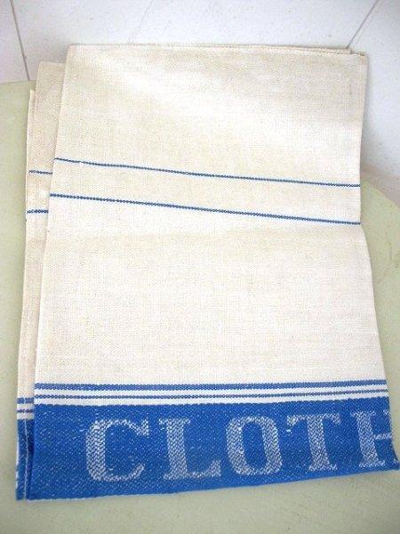 画像1: Vintage Linen  グラス用 ヴィンテージリネンクロス 水色 76cm x 50cm (1)
