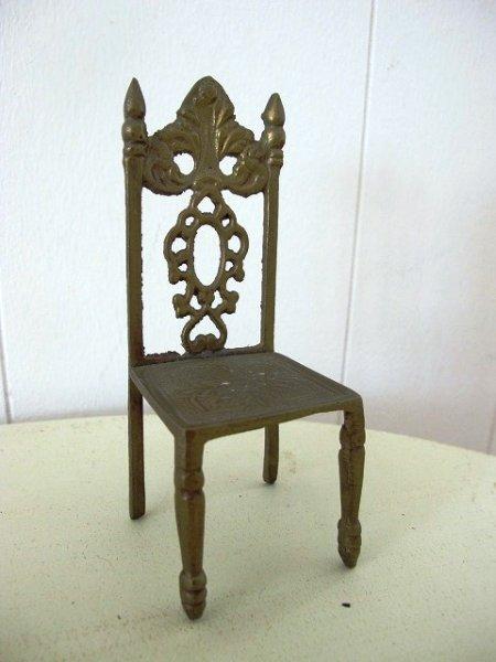 画像1: Vintage Brass Miniature Chair  小さなミニチュア椅子 真鍮製  イギリス (1)