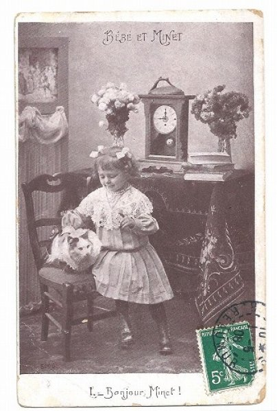 画像1: Postcard Bebe et Minet 猫と女の子 フランス1908年  (1)