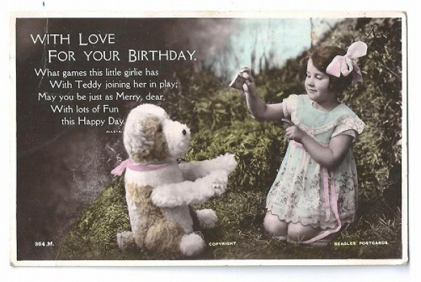 画像1: Postcard 犬のぬいぐるみと女の子 1927年  (1)