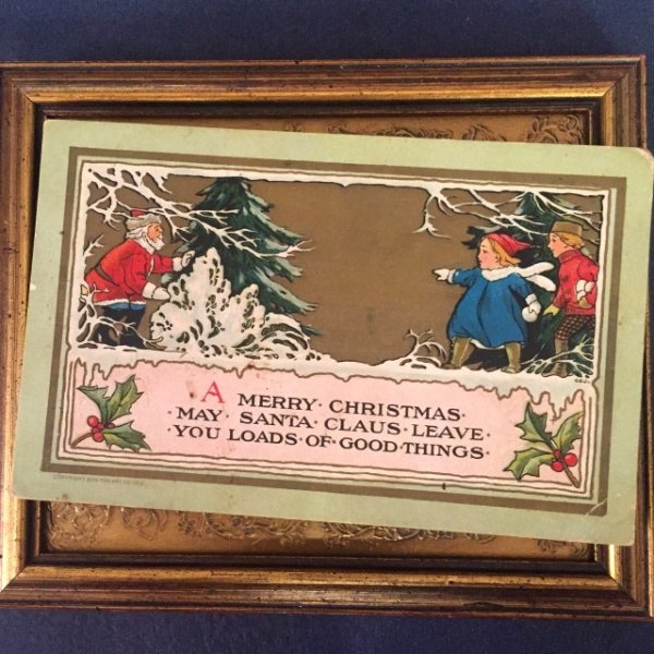 画像1: Postcard サンタクロースに出会った子供たち 1910年頃  (1)