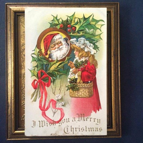 画像1: Postcard クリスマス 赤いコートの女の子とサンタクロース  (1)