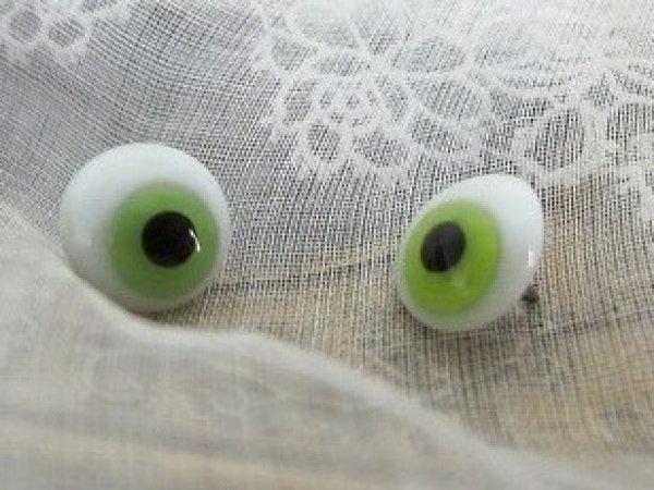 画像1: Antique Glass Eye アンティーク ジャーマングラスアイ 緑 ドイツ製 ポンチ目 グーグリー グリーン 10mm (1組・2個セット) (1)