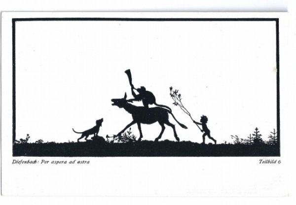 画像1: Postcard  ロバに乗ってラッパを吹く猿 シルエット 影絵 未使用  (1)