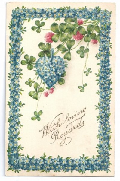 画像1: Postcard 忘れな草のお花と四葉のクローバー  Forget me not (1)