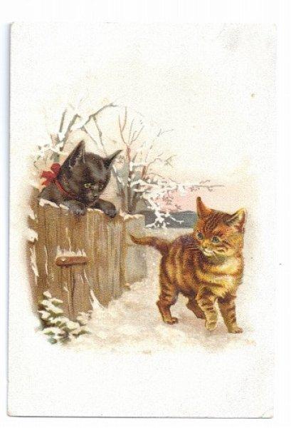 画像1: Vintage card 黒猫と茶トラ猫 Helena Maguire  (1)