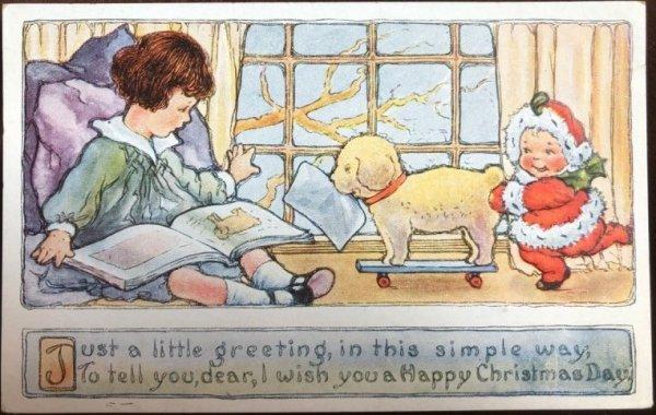 画像1: Postcard クリスマス プレゼントを運んできた小さなサンタさん 犬 未使用 (1)