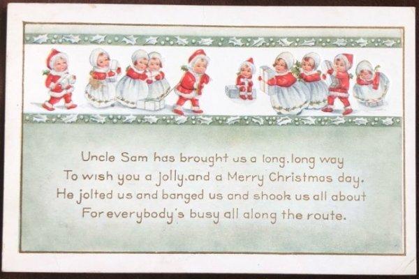 画像1: Postcard クリスマス プレゼントを運んできた小さなサンタさん (1)