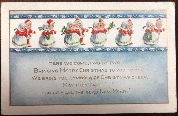 画像1: Postcard クリスマス 2人ずつでやって来た小さなサンタさん 1917年 (1)