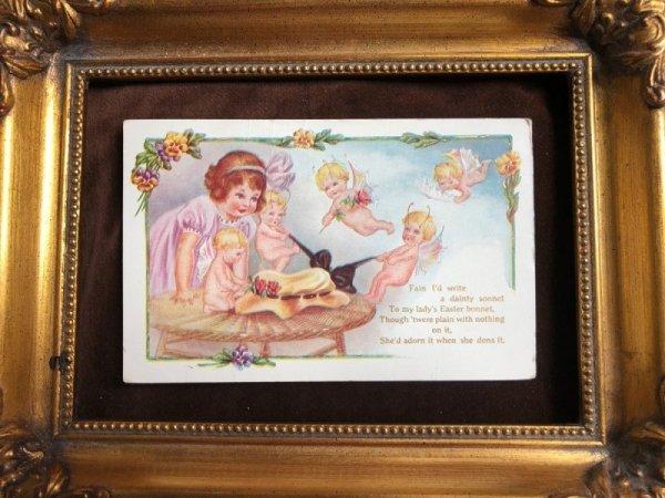 画像1: Postcard イースター 女の子と帽子と妖精たち (1)