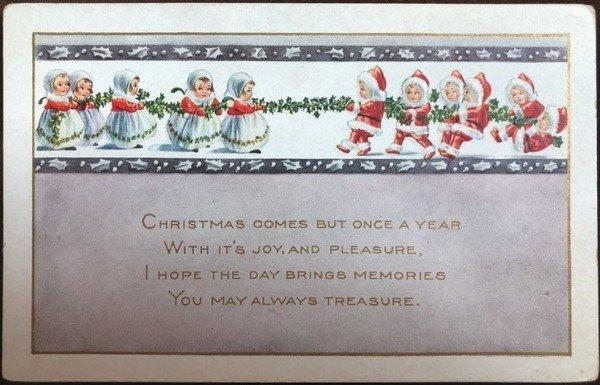 画像1: Postcard クリスマス 小さなサンタさん 綱引き  (1)