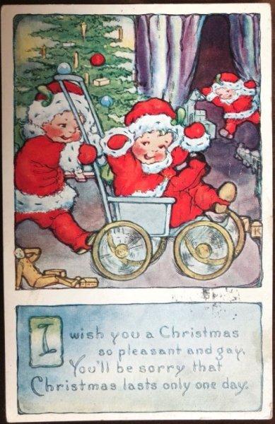 画像1: Postcard クリスマス 小さなサンタさん 1926年 (1)