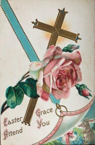 画像1: Postcard  イースター 薔薇のお花と十字架とウサギ (1)