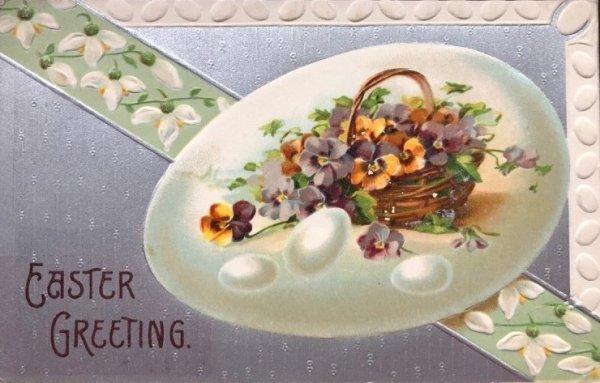 画像1: Postcard  イースター パンジーとスノードロップのお花  卵 (1)