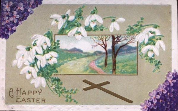 画像1: Postcard  イースター スノードロップのお花と田舎の風景 1911年 (1)