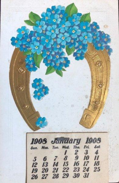 画像1: Postcard  新年祝い New Year  カレンダー 1908年 忘れな草のお花 (1)