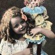 画像1: Postcard 女の子とお人形 未使用 (1)