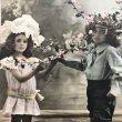 画像1: Postcard お花と子どもたち 未使用 (1)