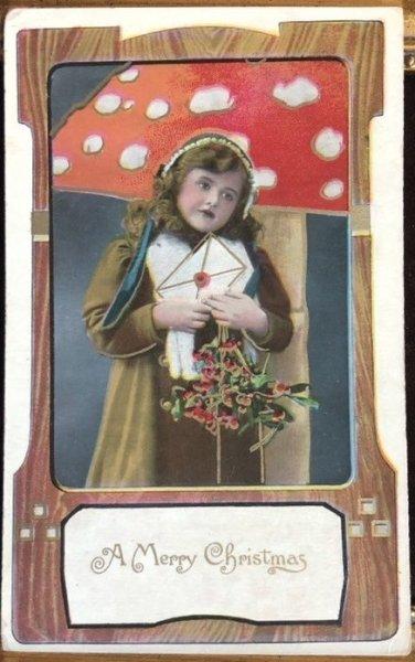 画像1: Postcard  クリスマス 手紙を持つ女の子 キノコ  (1)