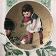 画像2: Postcard 新年祝い New Year キノコを拾う女の子 ヤドリギ 1910年 (2)