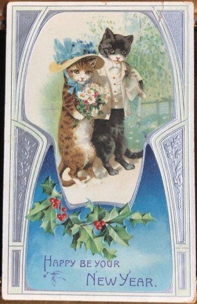 画像1: Postcard New Year 正装してお出かけする猫たち  (1)
