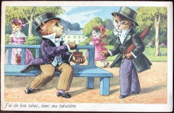 画像1: Postcard  煙草を勧める猫の紳士 スナッフボックスに良いタバコありますよ  (1)