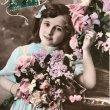 画像1: Postcard  お花と女の子 フランス1908年 (1)