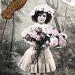 画像1: Postcard  薔薇のお花と女の子 フランス1909年 (1)