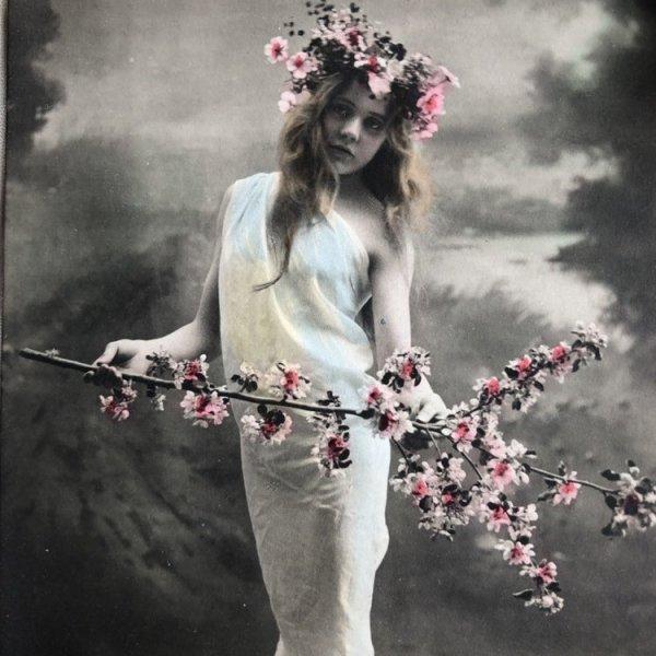 画像1: Postcard  お花と女の子 写真 未使用 (1)
