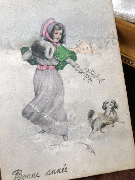 画像1: Postcard 犬と遊ぶ少女 ヤドリギ V.K.VIENNE 1912年 (1)