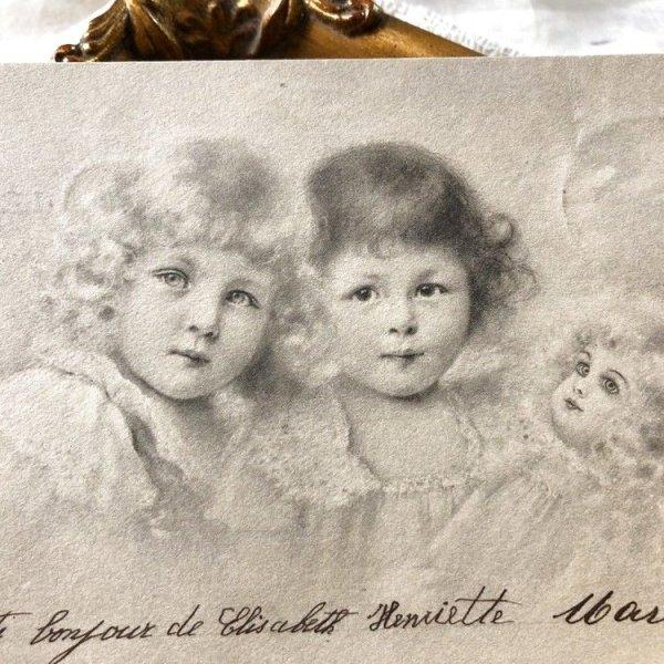 画像1: Postcard お人形さんと女の子 M.M.VIENNE ドイツ1902年 (1)
