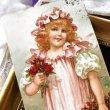 画像1: Postcard  薔薇のお花とピンクのドレスの女の子 イギリス1907年 Ellen Jessie Andrews (1)
