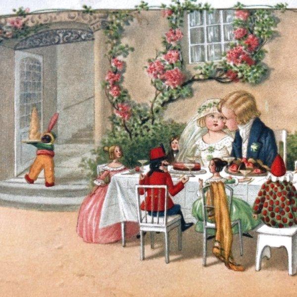 画像1: Postcard 小さな結婚式 お人形さん Pauli Ebner  (1)