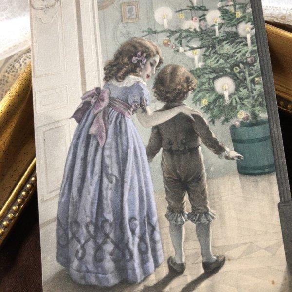 画像1: Postcard クリスマス ツリーに驚く男の子 M.M.VIENNE (未使用) (1)