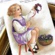 画像1: Postcard  スミレのお花飾りを作る女の子 Ellen Clapsaddle イギリス1928年 (1)
