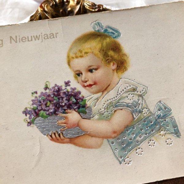 画像1: Postcard  スミレのお花と女の子 オランダ1927年 (1)