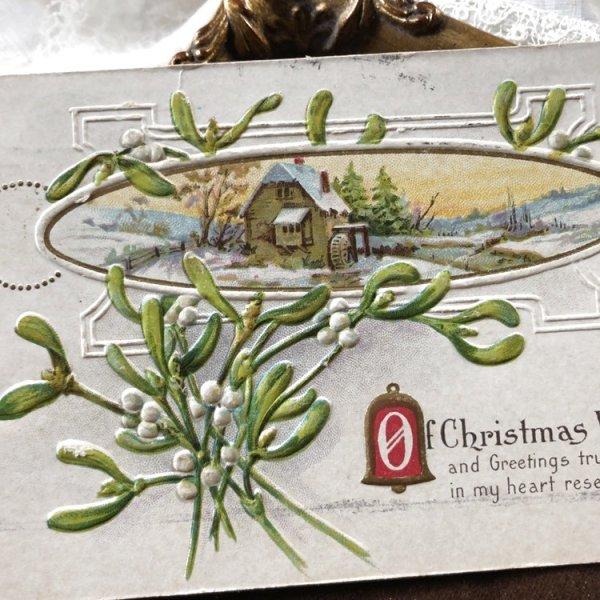 画像1: Postcard クリスマス ヤドリギ 水車小屋 (1)