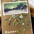 画像1: Postcard 新年祝い New Year ヤドリギと田舎の風景 アメリカ1910年 (1)