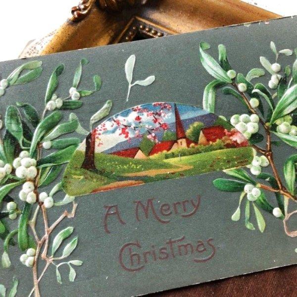 画像1: Postcard クリスマス ヤドリギと田舎の風景  (1)