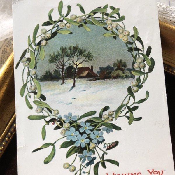 画像1: ▼SALE 500▼ Postcard クリスマス ヤドリギ 忘れな草のお花 イギリス1908年 (1)