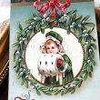 画像1: Postcard クリスマス ヤドリギのリースとマフの女の子 Ellen Clapsaddle アメリカ1911年 (1)
