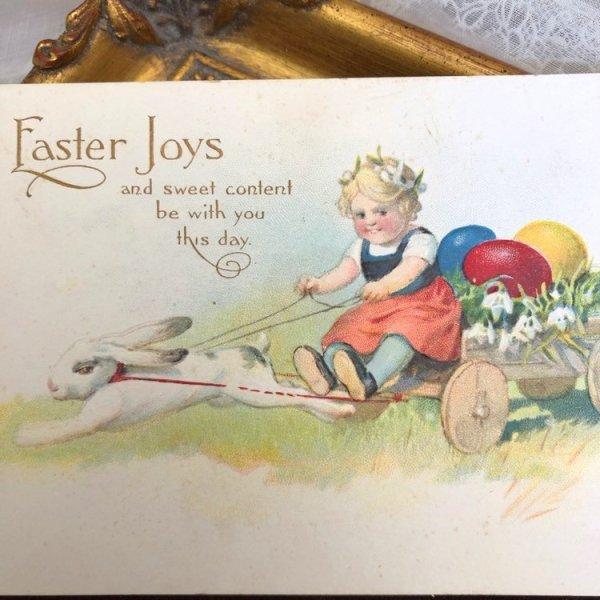 画像1: Postcard  イースター ウサギ車に乗って卵を運ぶ女の子 (未使用) (1)