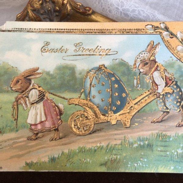 画像1: Postcard  イースター 大きな卵を運ぶうさぎさん アメリカ1907年 (1)