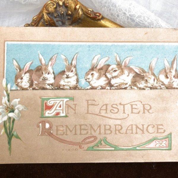 画像1: Postcard  イースター 白百合のお花と八羽のうさぎさん アメリカ1912年 (1)