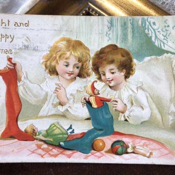 画像1: Postcard クリスマス プレゼントと子どもたち Ellen Clapsaddle    (1)