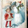 画像1: Postcard クリスマス 雪だるまと女の子  (1)