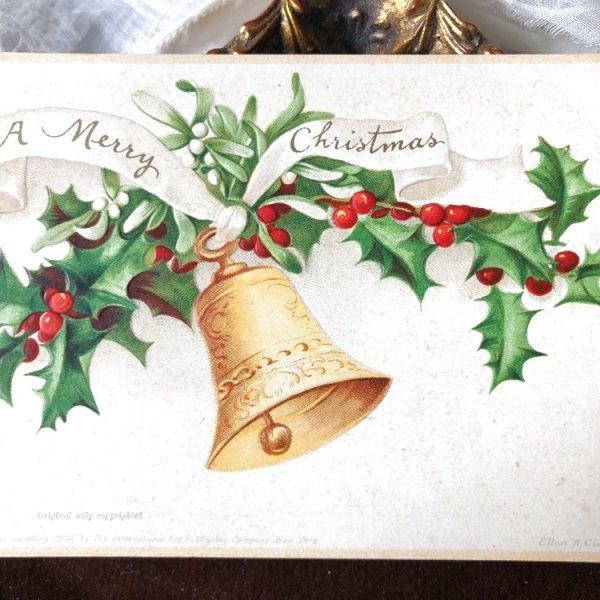画像1: Postcard クリスマス ホーリーとヤドリギと金色のベル Ellen Clapsaddle   (1)