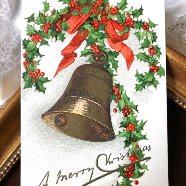 画像1: Postcard クリスマス ホーリーと金色のベル Ellen Clapsaddle   (1)